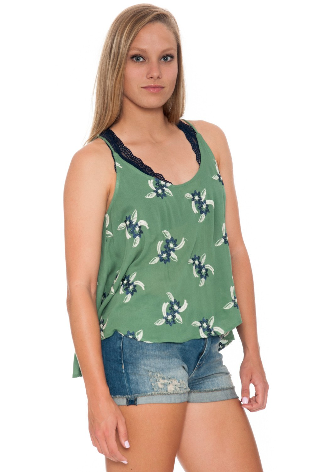 Top - Shear Green with Open Back - 2