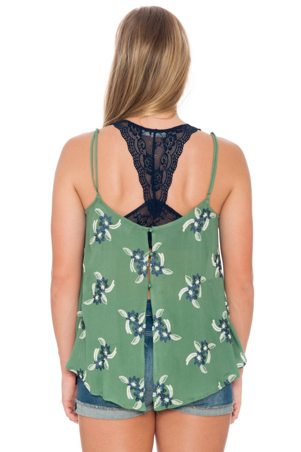 Top - Shear Green with Open Back - 3