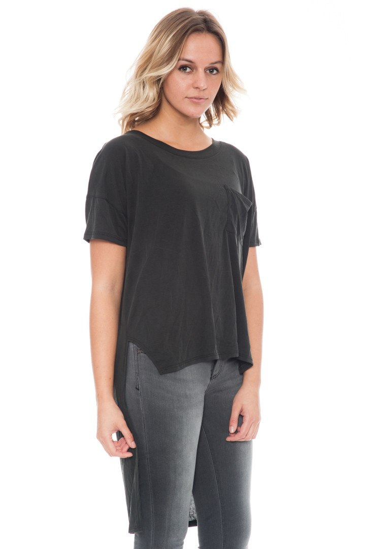 Shirt - Extreme High Low Tee with Side Slits By Paper Crane