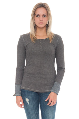 Shirt - Fitted Waffle Knit Thermal Top