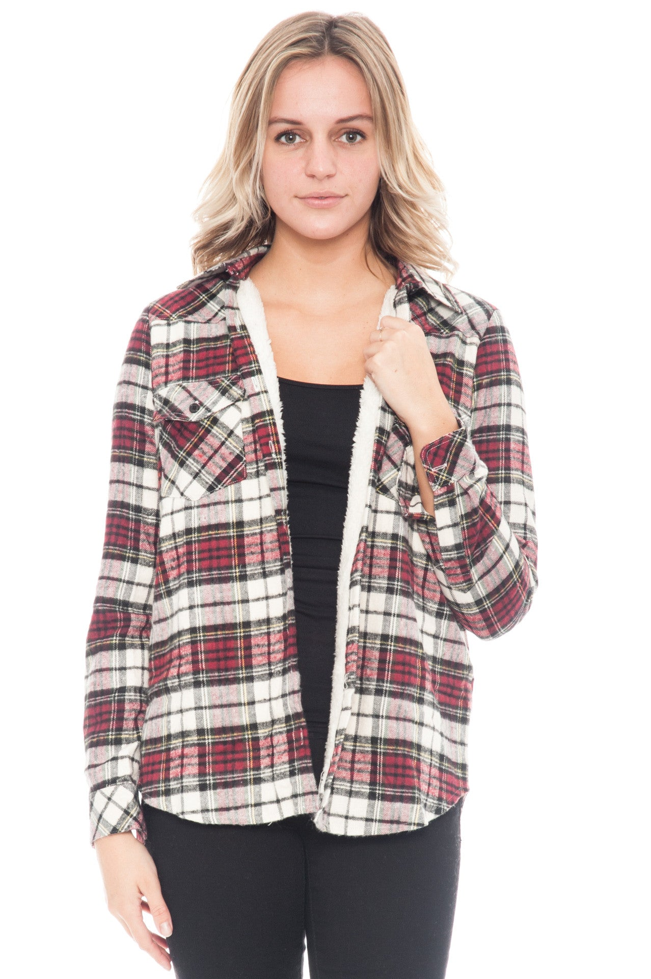 Shirt - Plaid Flannel Button Up with Sherpa Lining By Paper Crane (Final Sale)