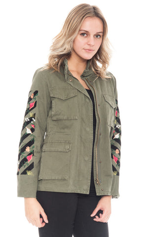 Jacket - Floral Embroidered Sleeve (Final Sale)