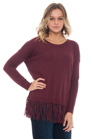 Shirt - Knit Top With Fringe Hemline