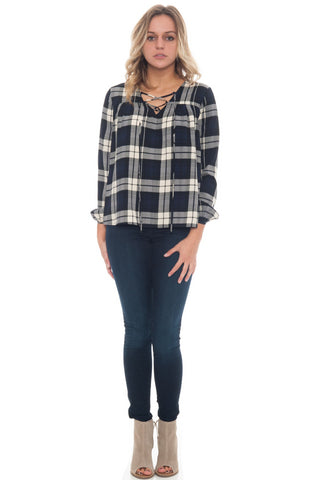Blouse - Plaid Lace Up Front Top By Everly