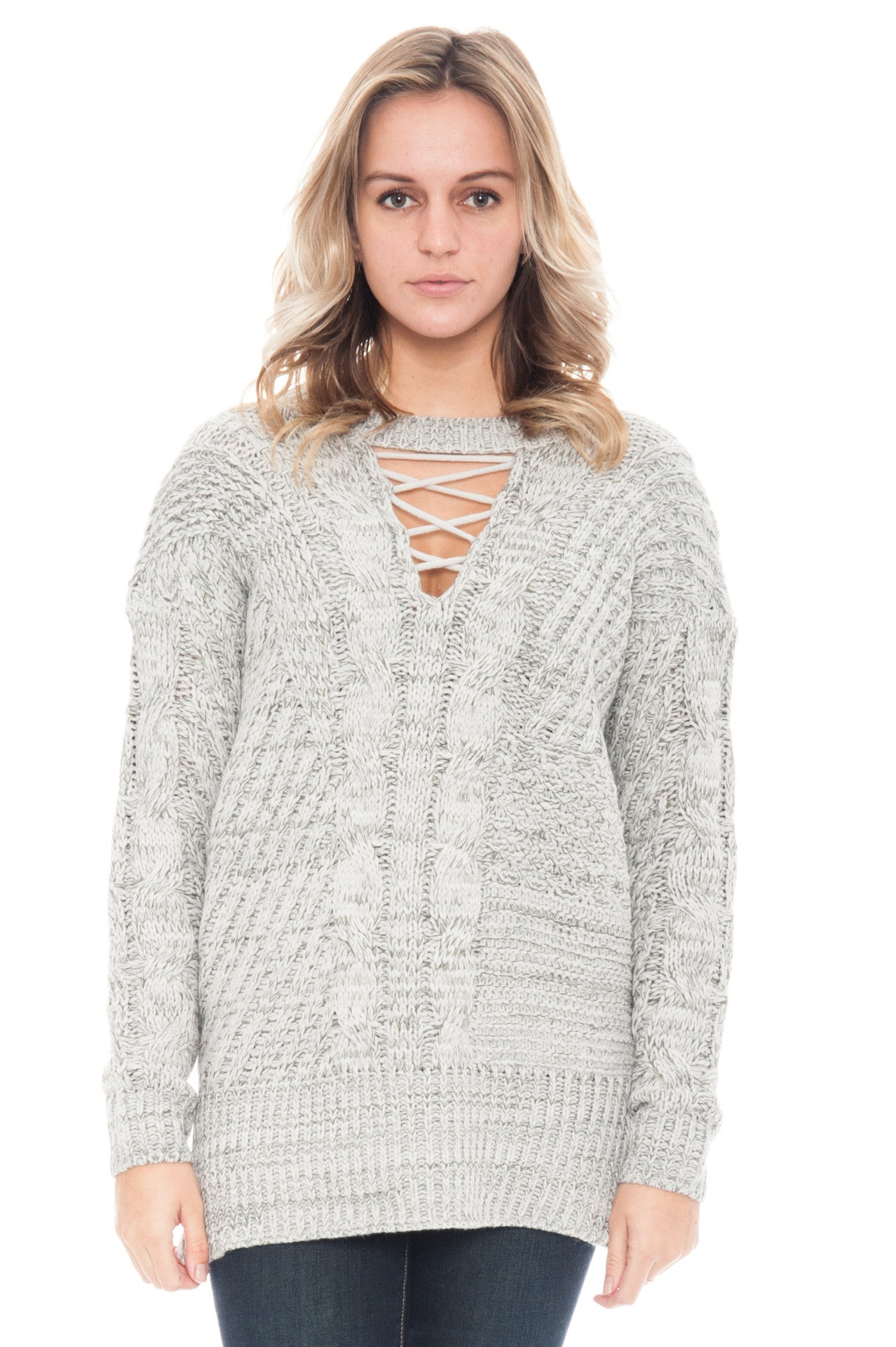 Sweater - Knit Lace Up By Paper Crane