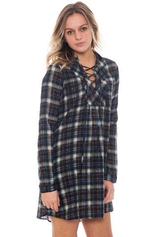 Dress - Lace Up Plaid (Final Sale)