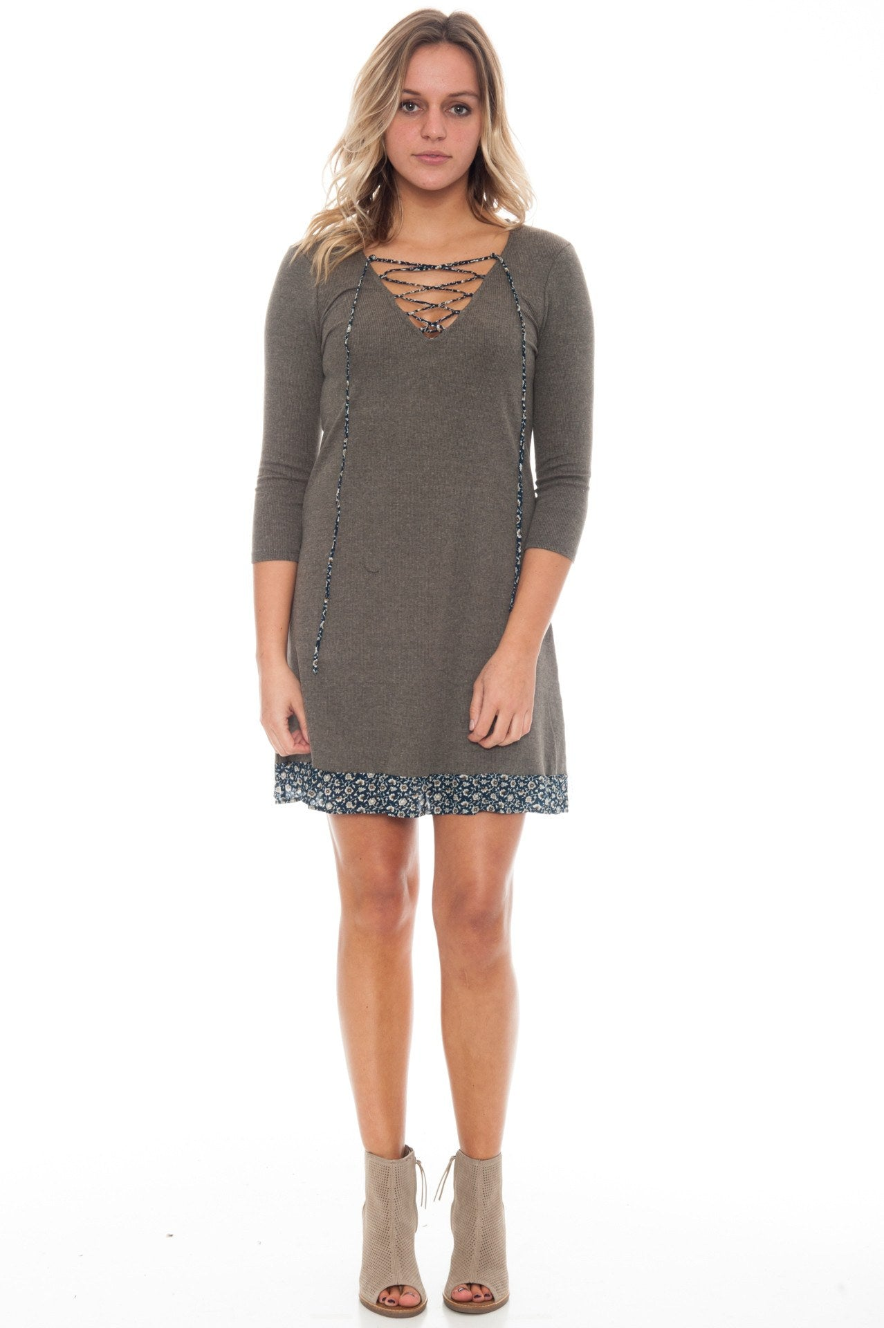 Dress - Lace up Ribbed