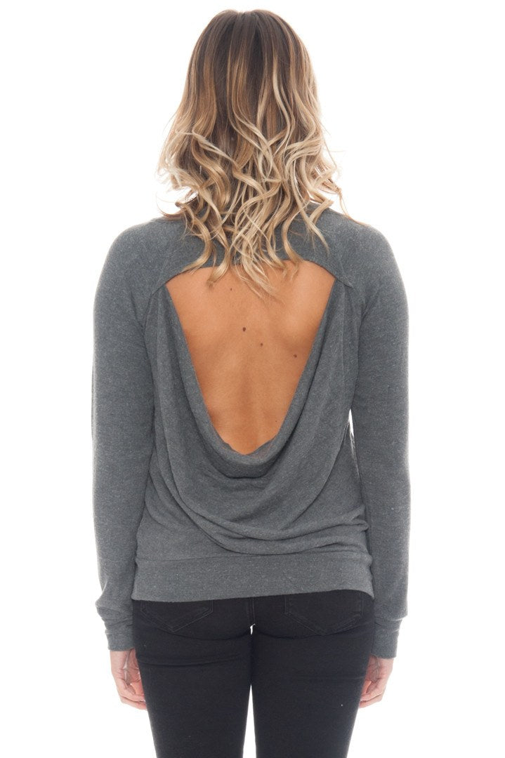 Sweater - Open Back Top with Foiled Lips by Chaser