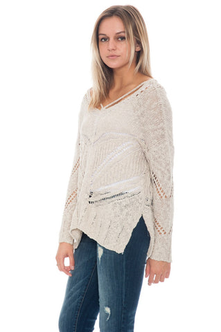 Sweater - V-Neck Crocheted Knit Top By Lush (Final Sale)