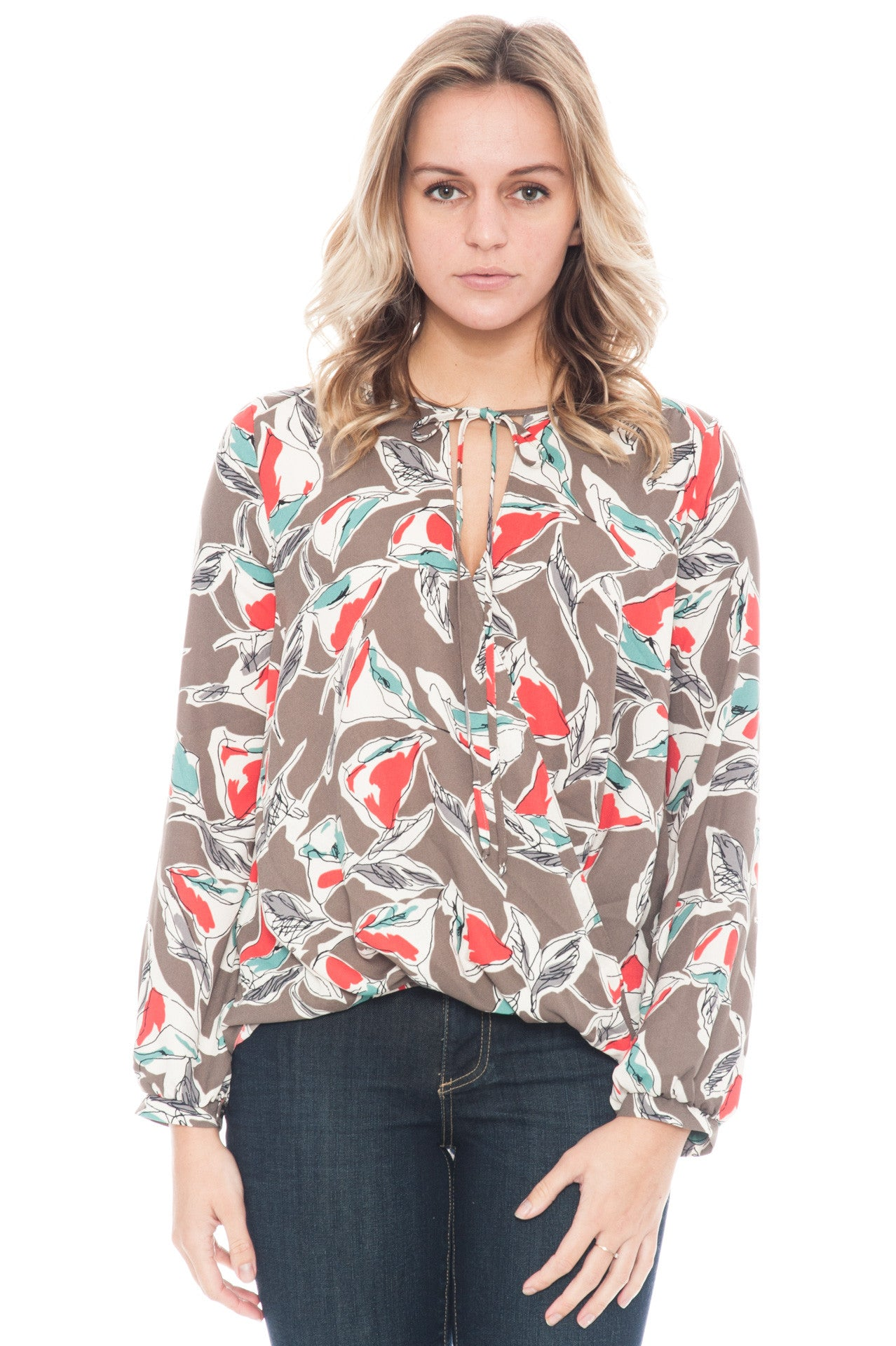 Blouse - Overlap Front Printed Top with Neck Tie By Lush