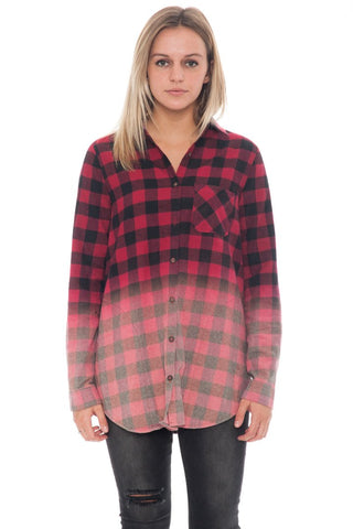 Shirt - Dip Dyed Button Up Plaid Flannel (Final Sale)