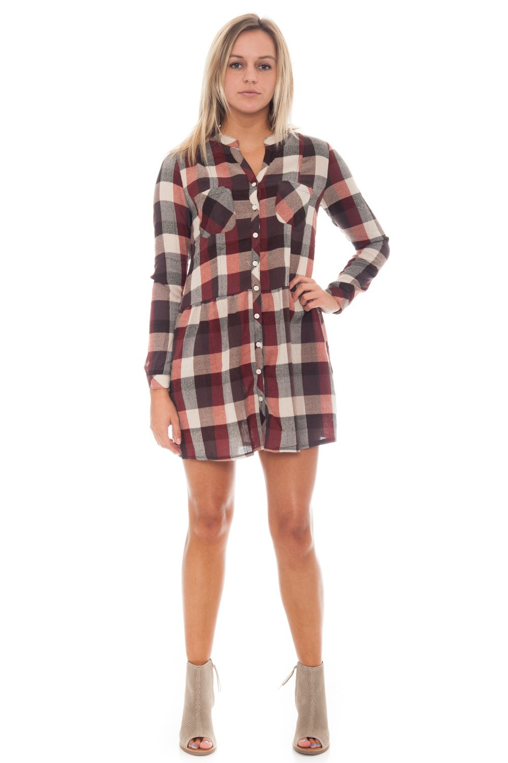 Dress - Plaid Button Up - 2