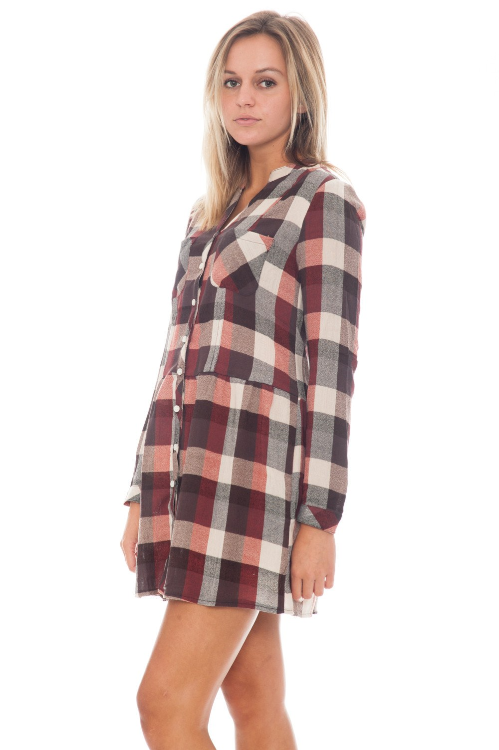 Dress - Plaid Button Up - 1