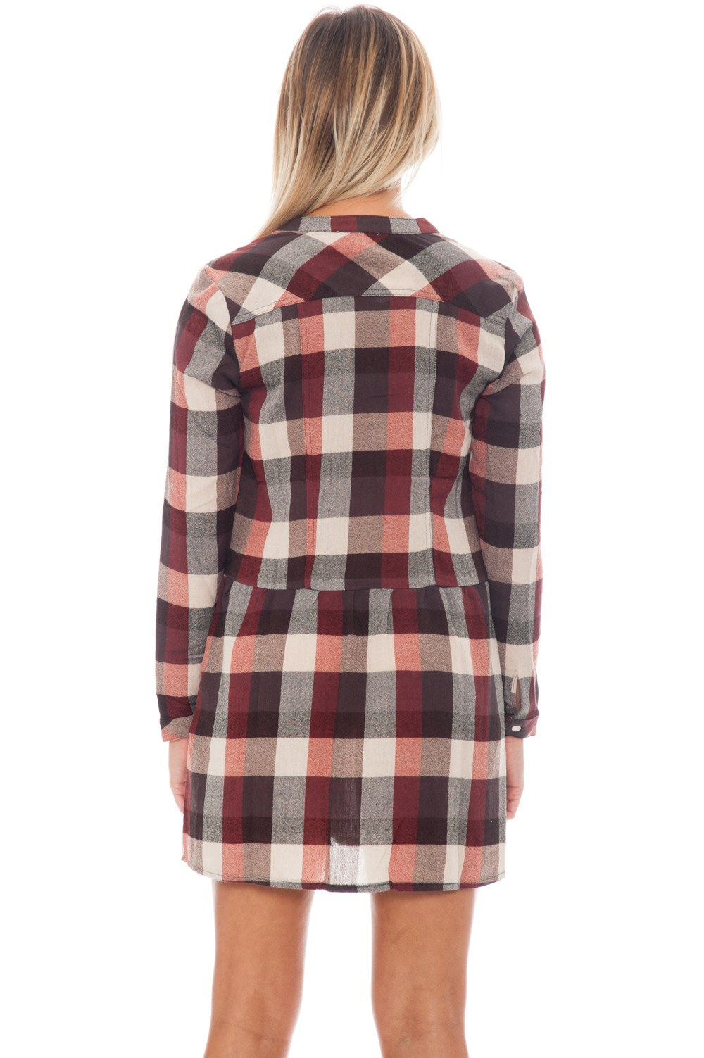 Dress - Plaid Button Up - 3