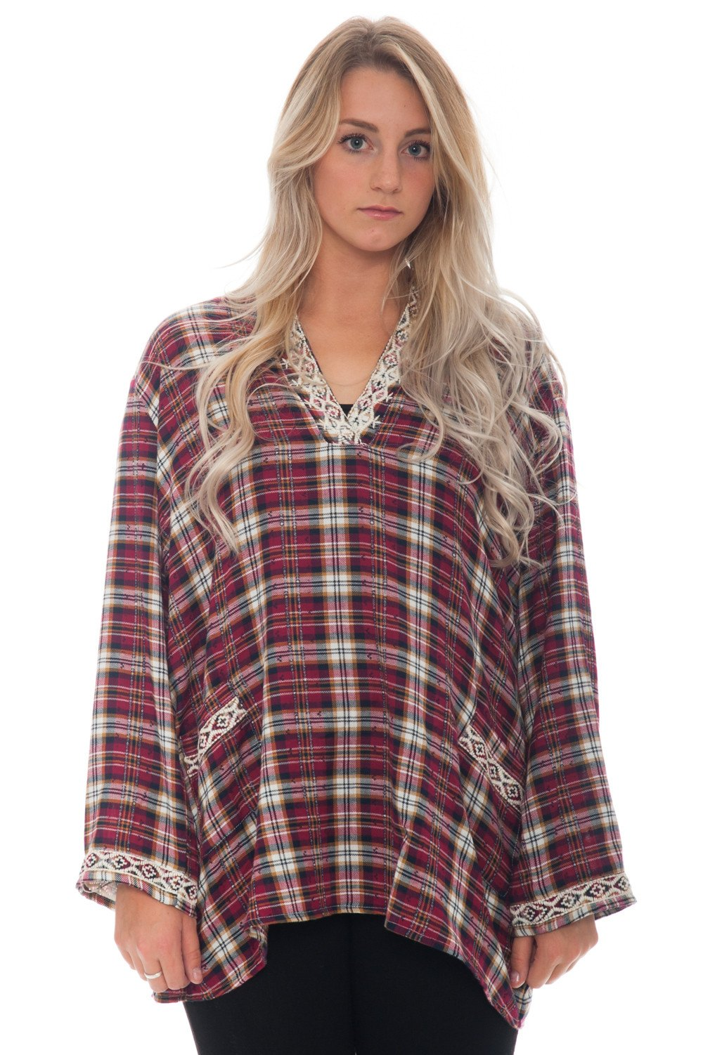 Shirt - Plaid with Embroidered Detail - 1