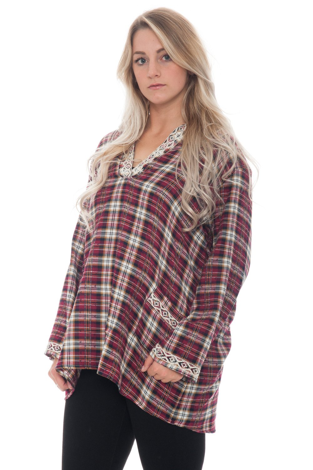Shirt - Plaid with Embroidered Detail - 2