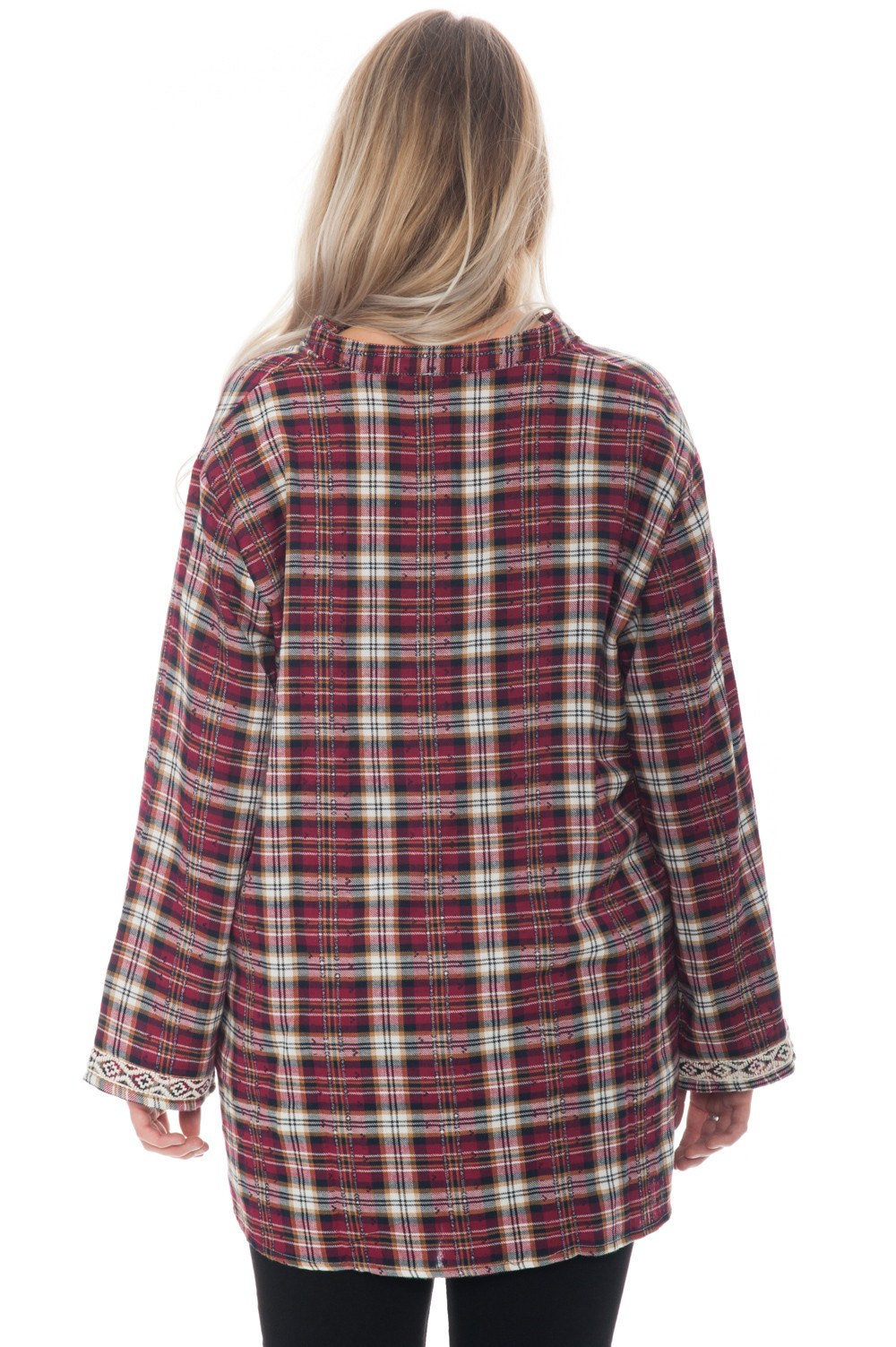 Shirt - Plaid with Embroidered Detail - 3