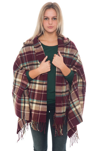 Poncho - Plaid Hoodie (Final Sale)