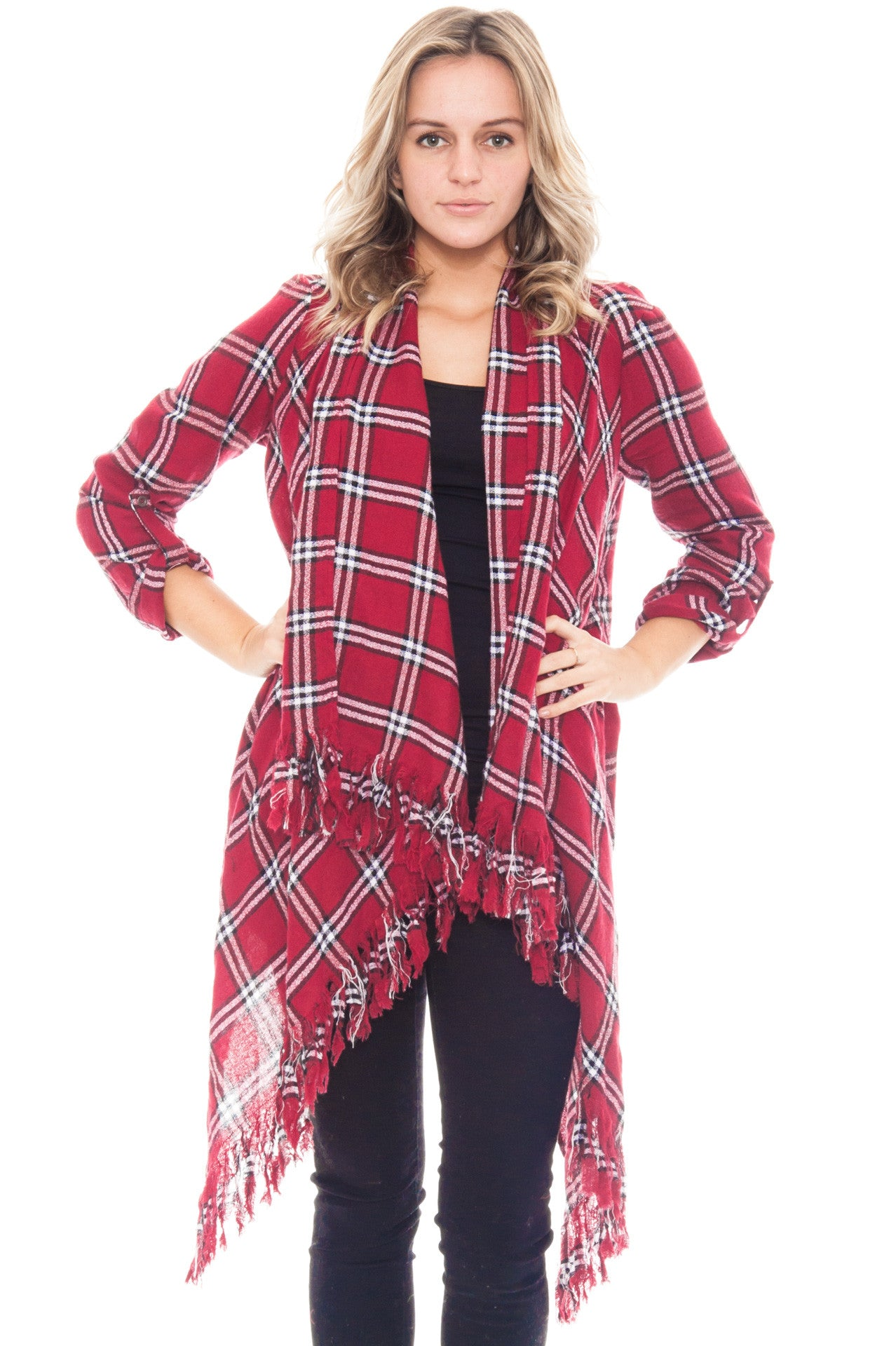 Cardi - Plaid Roll Up Sleeve