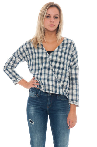 Blouse - Plaid Wrap By Everly