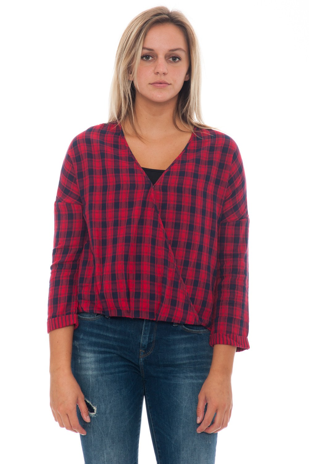 Blouse - Plaid Wrap - 5