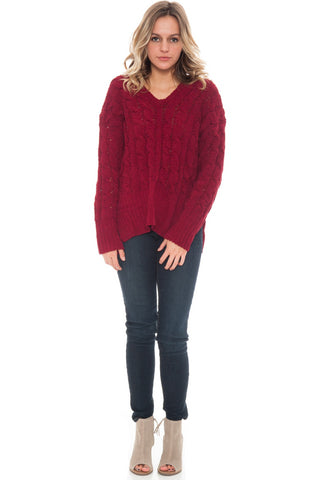 Sweater - Side Slit Cable Knit Top by Paper Crane