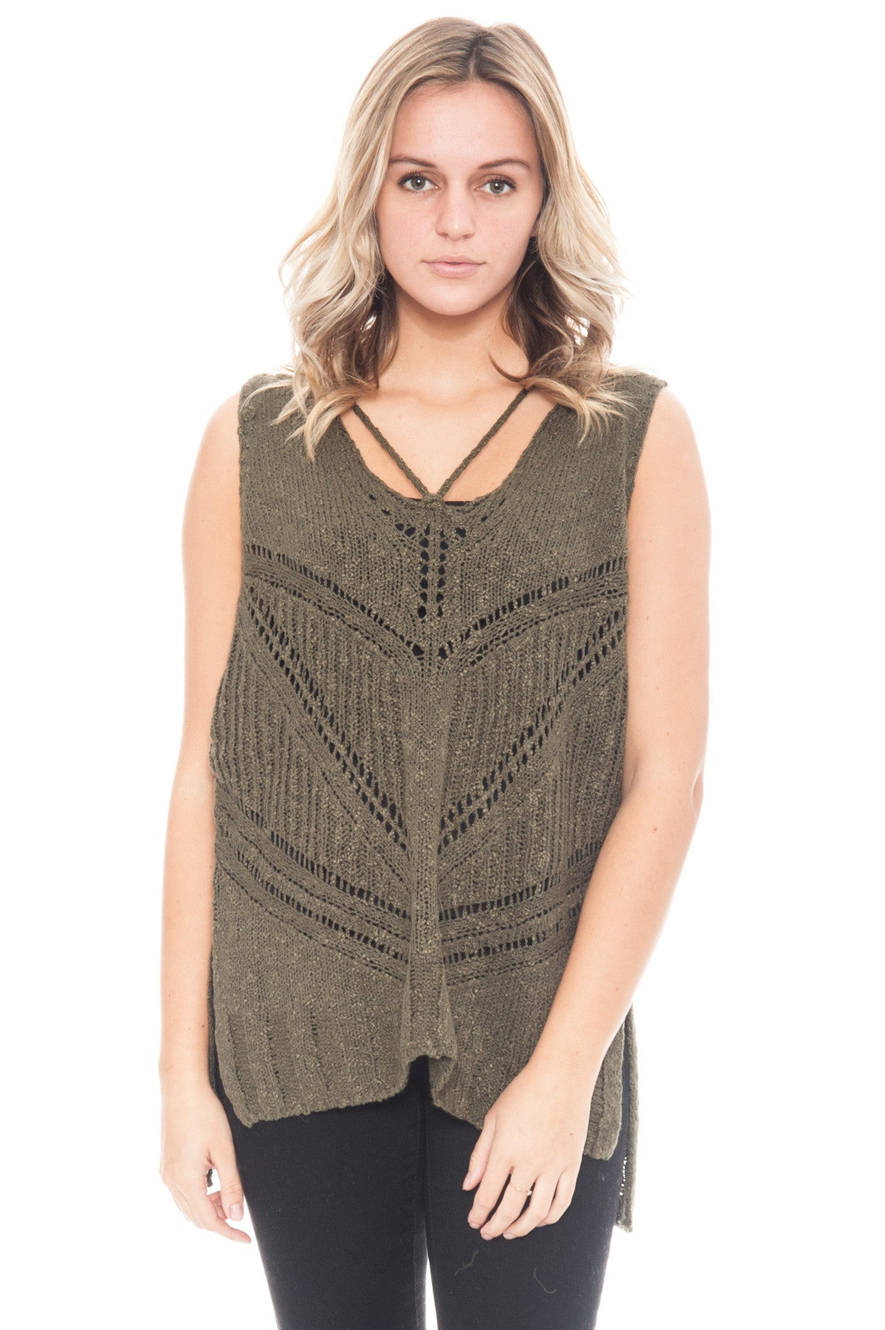Sweater - Sleeveless Sweater with Criss-Cross Back by Lush (Final Sale)