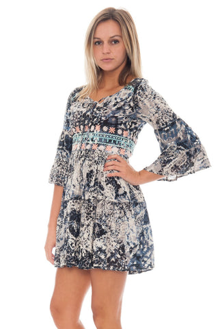 Dress - Print Dress with Sleeve Flare - 1