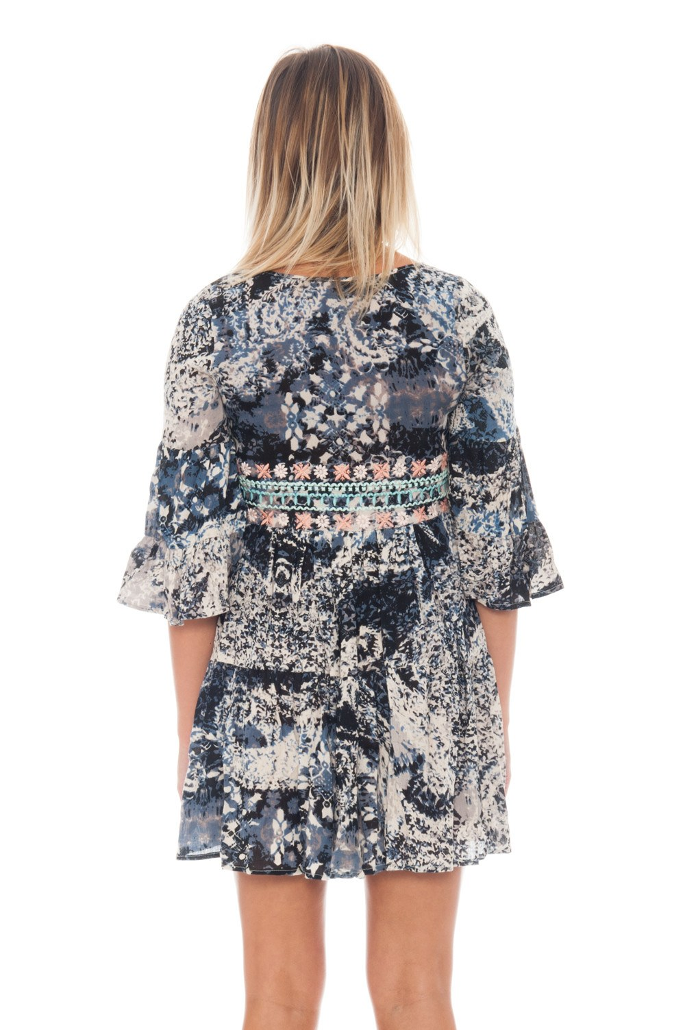 Dress - Print Dress with Sleeve Flare - 3
