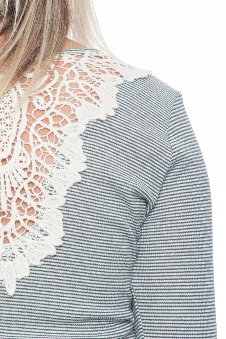 Shirt - Long Sleeve Striped Henley with Lace Detail