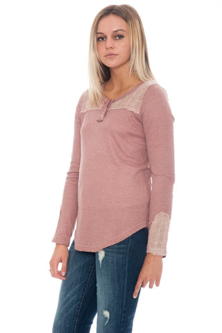 Shirt - Waffle Knit Thermal Top with Lace Detail