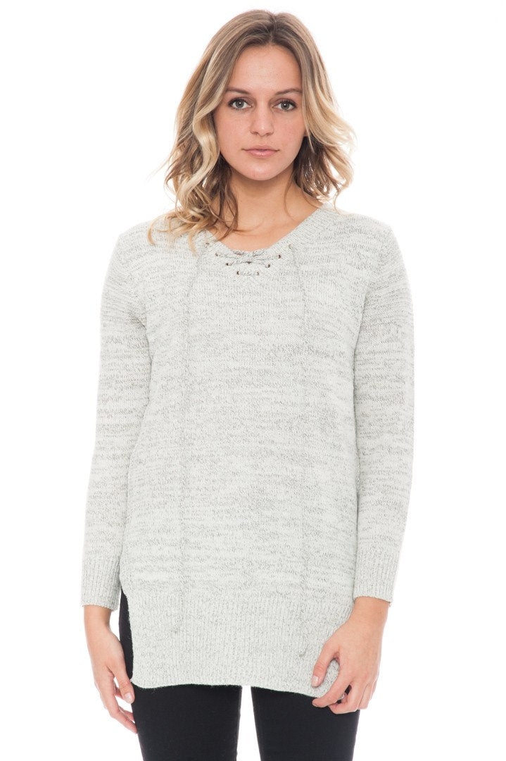 Sweater - Two tone Lace Up By Paper Crane