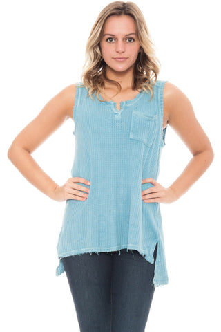 Tank - High Low Waffle Knit Top By Paper Crane