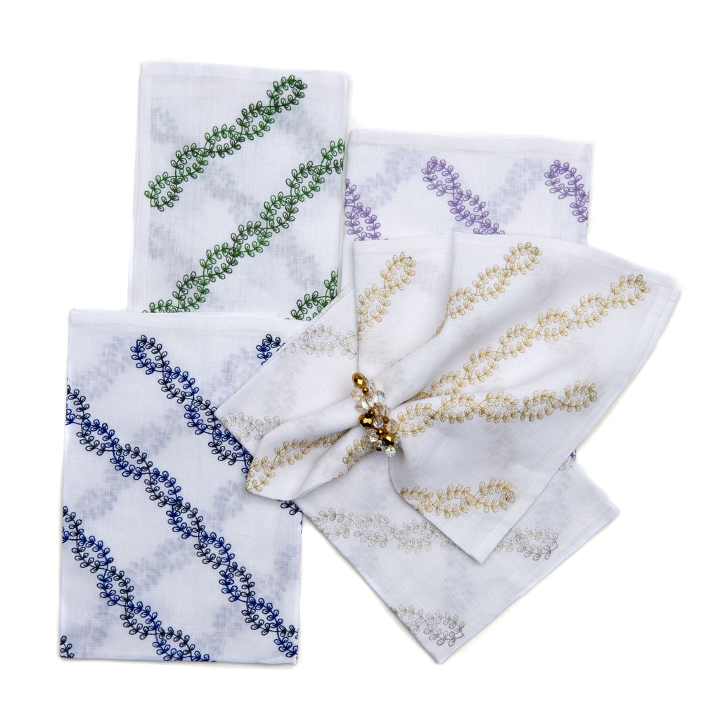 2-Tone Vines Embroidered Napkin