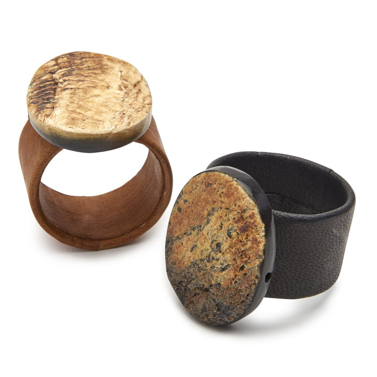 Horn & Leather Cuff Napkin Ring