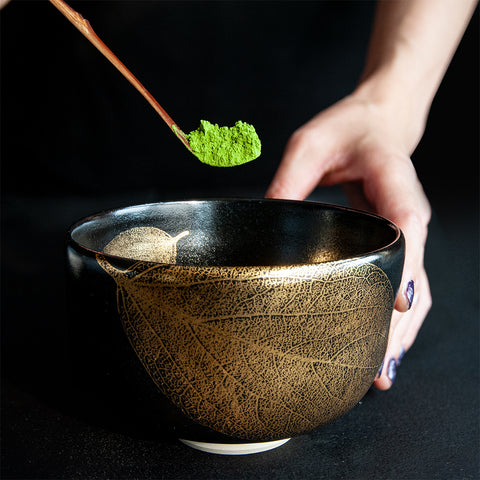 Kutani Yaki Golden Leaf Matcha Bowl