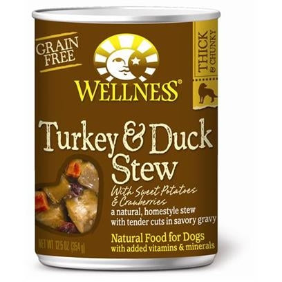 Wellness Grain Free Natural Turkey and Duck Stew with Sweet Potato and Cranberries Wet Canned Dog Food