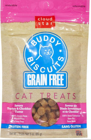 Cloud Star Buddy Biscuits Grain Free Turkey and Cheddar Cat Treats