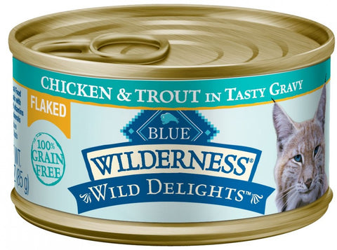 Blue Buffalo Wilderness Wild Delights Grain Free Flaked Chicken and Trout Canned Cat Food