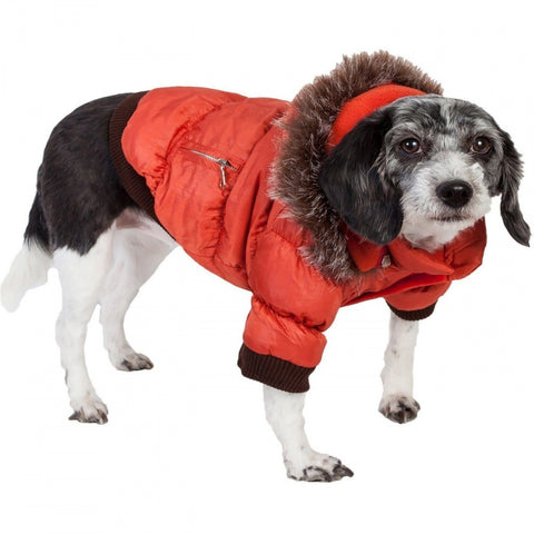 Pet Life Metallic Orange Fashion Parka Insulated Dog Coat with Removable Hood