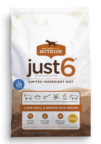 Rachael Ray Nutrish Just 6 Limited Ingredient Diet Lamb Meal & Brown Rice Recipe Dry Dog Food