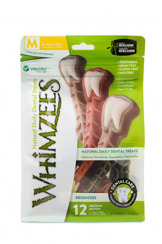 Whimzees Brushzees Natural Daily Dental Medium Breed Dog Treats