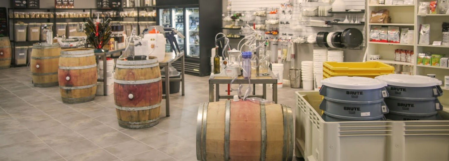 Interior photograph of Lodi Wine Labs depicting various fermentation equipment and supplies.