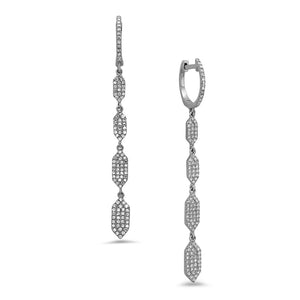 Zig Zag Four Row Drop Earrings