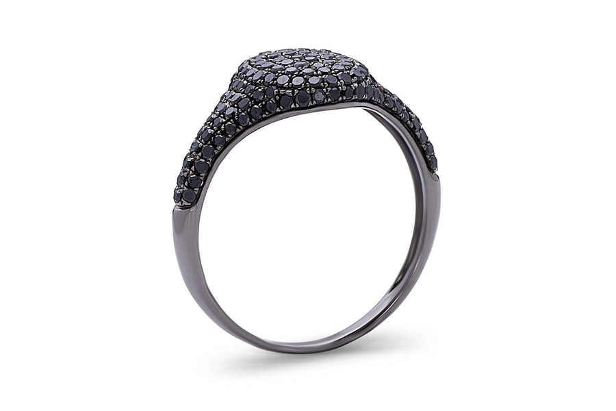 Pave Oval Signet Ring
