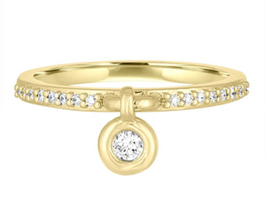 Bouncing Bezel Diamond Charm Ring