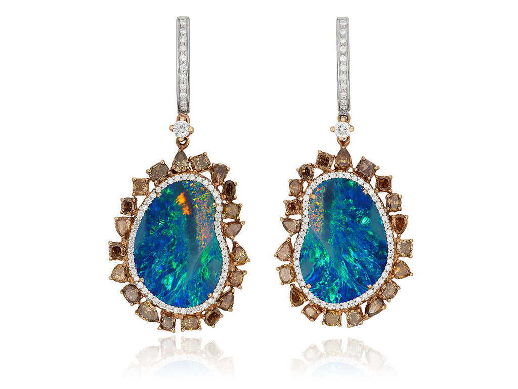 Mixed Media Opal and Champagne Diamond Single Drop Earrings