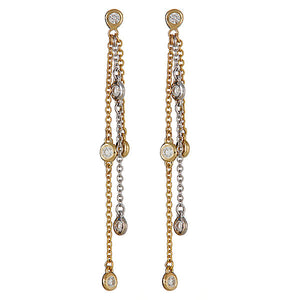 Icicle Bezel Chain Earrings