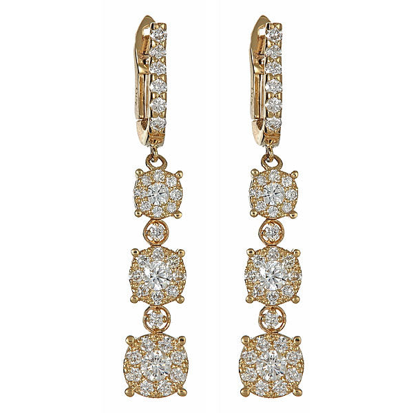Fleur Cluster Triple Drop Earrings
