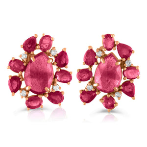 Mixed Media Ruby Studs